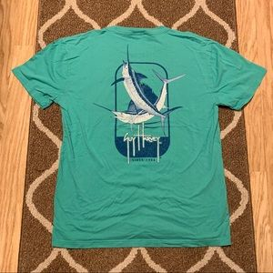 Guy Harvey teal pocket T-shirt marlin - XL